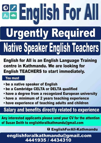 English For All Teachers Wanted